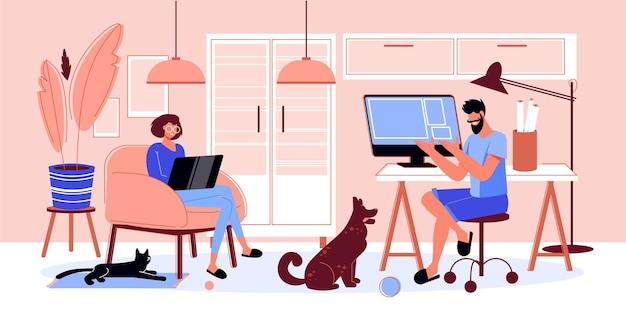 프리랜서 사람들은 애완 동물과 함께 실내 인테리어 풍경으로 구성을 작업하고 컴퓨터 일러스트와 함께 인간의 문자를 낙서