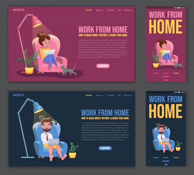 フリーランスの人々は快適な状態で働いています。ウェブサイトテンプレート、ランディングページ、モバイルアプリのデザイン。自宅で便利な職場で働くフリーランサーのキャラクター。フラット漫画イラスト