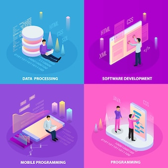 Freelance programming isometric 2x2  concept with human icons and infographic images with editable text captions