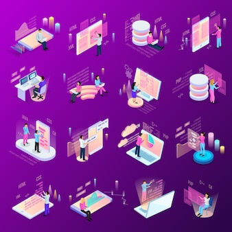 Freelance programming isometric icons set of isolated human characters and modern interfaces with infographic icons