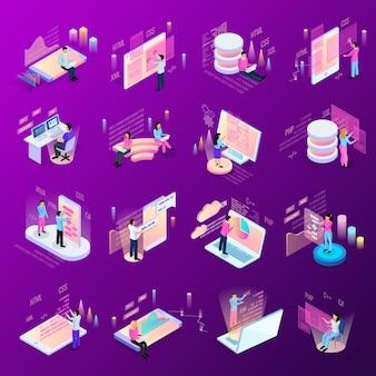 孤立した人間のキャラクターとインフォグラフィックアイコンと近代的なインターフェイスのフリーランスプログラミング等尺性のアイコンセット