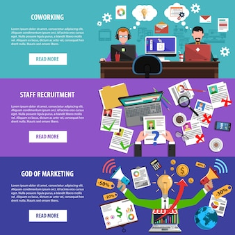 Freelance recruitment concept flat banners set
