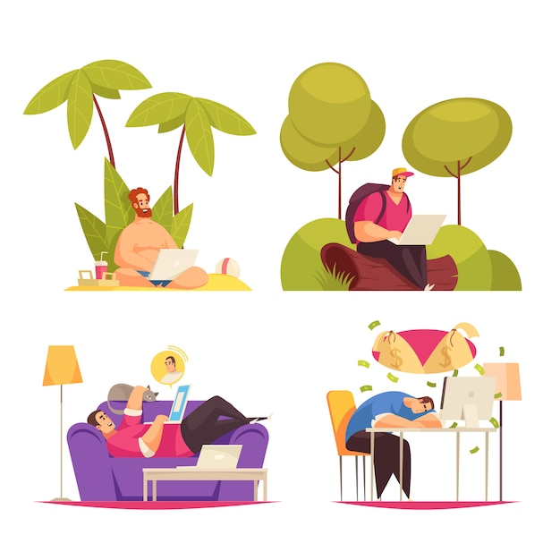 Freelance remote flexible work 4 cartoon concept compositions with writing under palm chatting on sofa