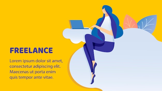 Freelance, remote job flat banner vector template