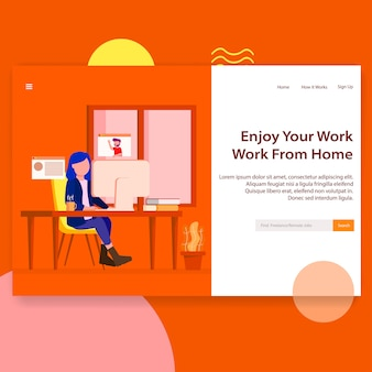 Freelance remote job seekerウェブサイトランディングページ