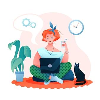 フリーランスのリモートワーク。アパート、フリーランサーでオンラインで働く若い女性キャラクター
