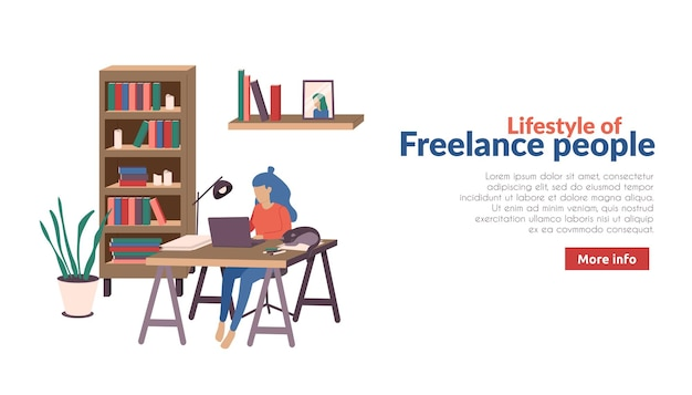 Freelance and remote workers banner with more info button text and home working process