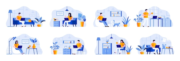 Freelance scenes bundle with people characters. freelancer working with laptop in comfortable conditions at home office situations. distance working, self-employed occupation flat illustration.
