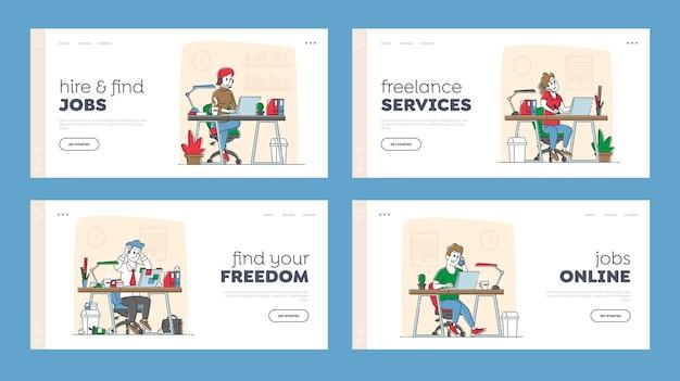 프리랜서 자영업 방문 페이지 템플릿 세트. 프리랜서 또는 사무원 캐릭터는 책상에 앉아 노트북에서 작동합니다. 원격 또는 고정 작업장. 선형 사람