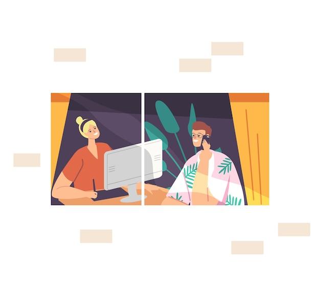 Внештатный самозанятый специалист, концепция удаленного рабочего места. расслабленные персонажи-фрилансеры, мужчина и женщина, сидящие у окна, работают на компьютере вдали от дома. мультфильм люди векторные иллюстрации
