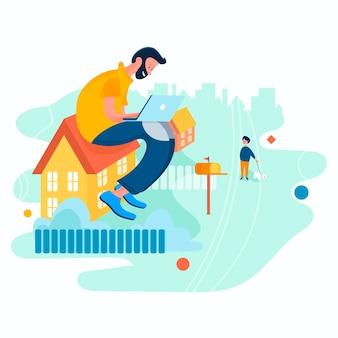 Фриланс сидит дома с ноутбуком плоский мультфильм векторные иллюстрации концепция остаться дома