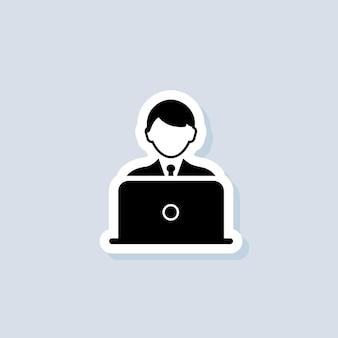 フリーランスのステッカー、ロゴ、アイコン。ベクター。デスクトップを持つ男。ノートパソコンのアイコンとブロガー。孤立した背景上のベクトル。 eps 10