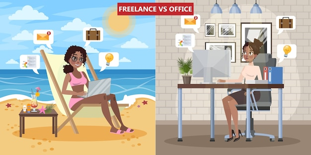 Freelance vs. office work concept. woman sitting on the chaise lounge and working remotely. young business woman working in office. isolated flat vector illustration