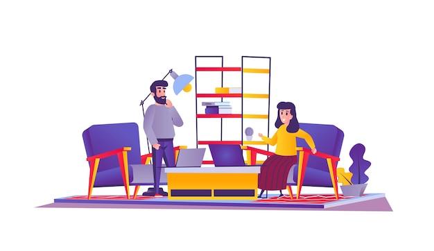 Freelance web concept in cartoon style