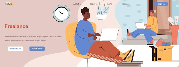 Freelance web concept remote workers or freelancers work on laptops from home