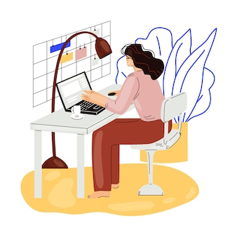 Freelance woman work in comfortable cozy home office   flat illustration. freelancer girl character working from home at relaxed pace, self employed concept