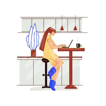 Freelance woman work in comfortable cozy home office in kitchen   flat illustration. freelancer girl character working from home at relaxed pace, self employed concept