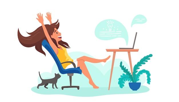 Внештатная женщина работает дома в комнате на ноутбуке с кошкой. интернет-образование, концепция карантина.