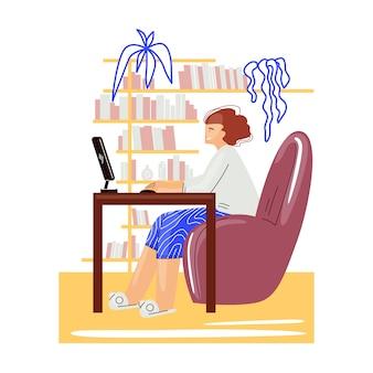 편안한 아늑한 홈 오피스 평면 그림에서 프리랜서 여자 작업.