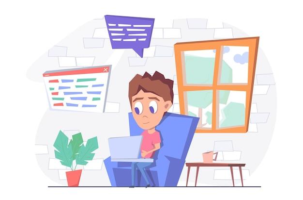 Внештатная работа фрилансер-мужчина работает из дома. он сидит в кресле со своим ноутбуком.