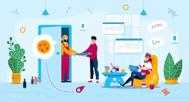 Freelance work advantages flat concept