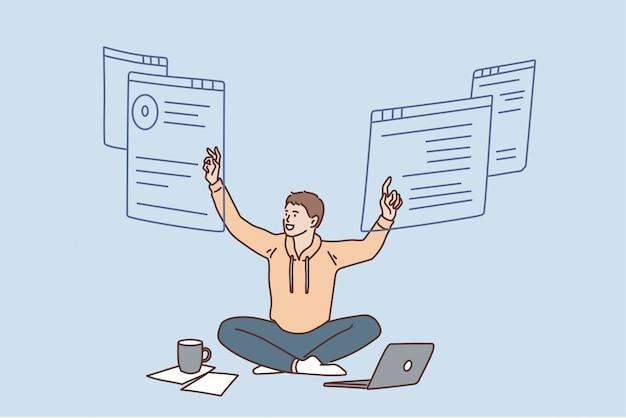 프리랜서 작업 및 원격 위치 개념입니다. 노트북과 커피 작업을 하면서 긍정적인 벡터 삽화를 들고 바닥에 앉아 웃고 있는 젊은 남자 노동자
