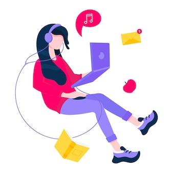 Концепция внештатной работы с летающей девушкой и сообщениями книги ноутбука