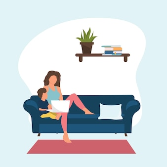 프리랜서 작업 개념입니다. 아늑한 현대적인 인테리어에서 아이들과 함께 집에서 일하는 여성. 평면 스타일의 벡터 일러스트 레이 션