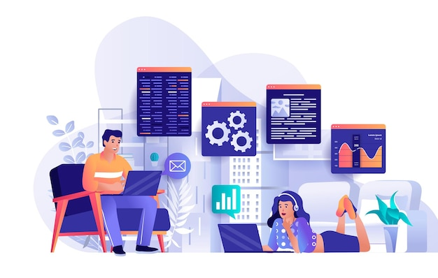 Freelance work flat design concept illustration of people characters