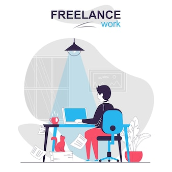 Freelance work isolated cartoon concept man freelancer working on laptop at home online