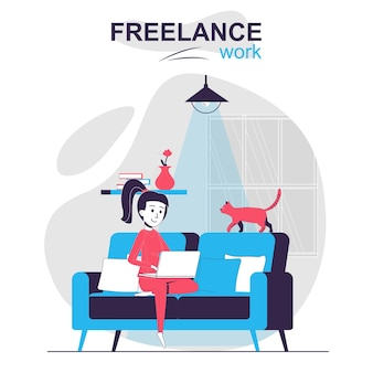 Freelance work isolated cartoon concept remote worker or freelancer works online at home