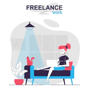 Freelance work isolated cartoon concept remote worker working from home online employee