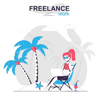 Freelance work isolated cartoon concept woman working on laptop on the beach freelancer