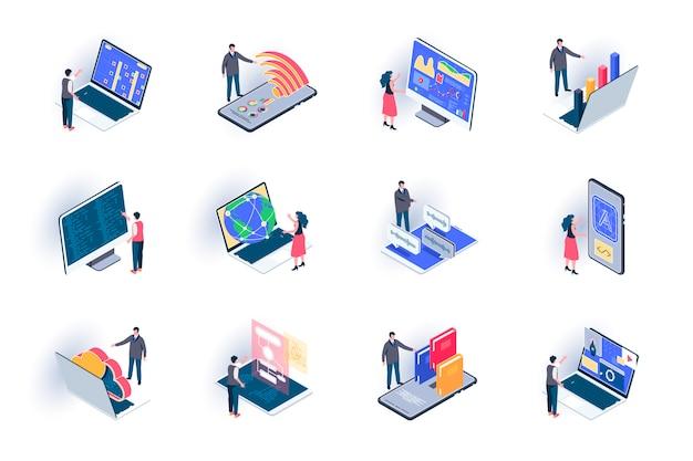 フリーランスの仕事等尺性のアイコンを設定します。開発と設計のアウトソーシング、リモート作業フラットイラスト。オンラインコミュニケーションと距離チームワーク3 dアイソメトリックピクトグラムと人々のキャラクター。