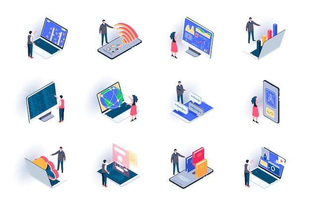 Freelance work isometric icons set. outsourcing development and design, remote work flat illustration. online communication and distance teamwork 3d isometry pictograms with people characters.