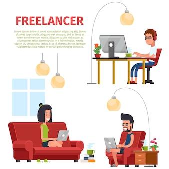 Freelance work people. freelancer work on computer, illustration