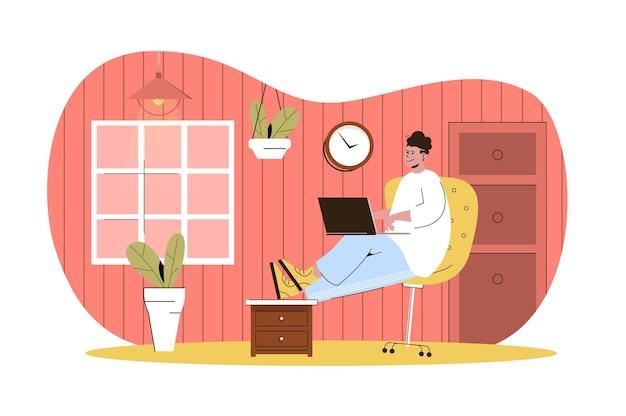 Freelance work web concept freelancer works on laptop sitting on chair remote worker