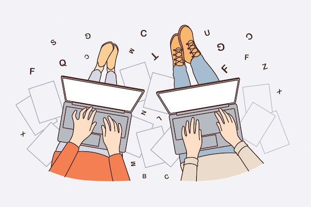 Freelance work and writing online concept. hands of people freelancers sitting working on laptops writing texts articles blogging vector illustration