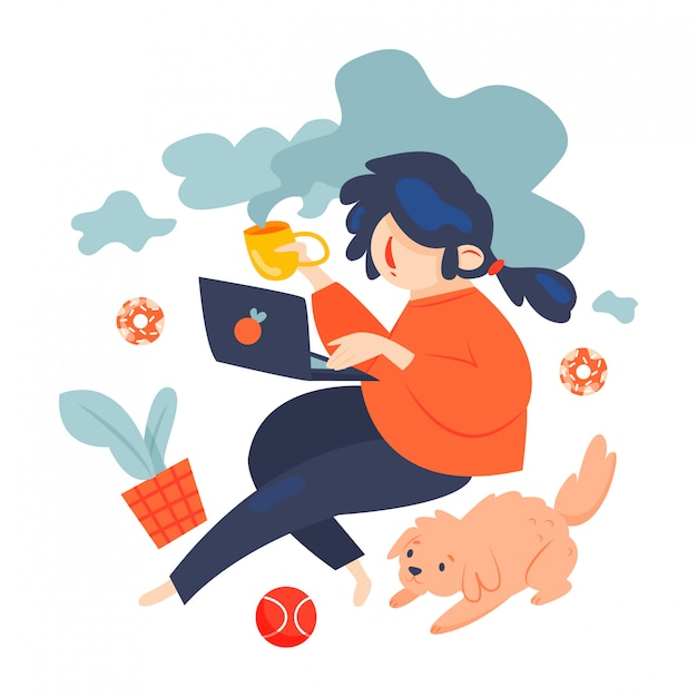 Freelance worker with dog - vector illustration