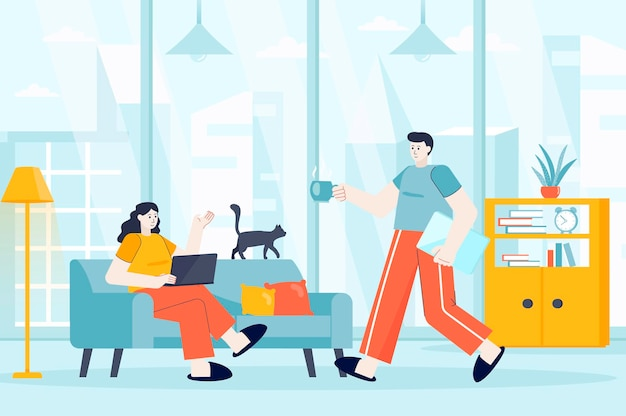 Freelance working concept in flat design illustration of people characters for landing page
