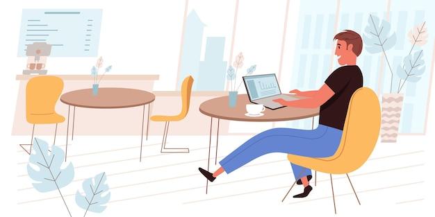 Внештатная рабочая концепция в плоском дизайне. человек, работающий на ноутбуке, сидя за столиком в кафе, пьет кофе, делает удаленную работу, выполняет задачи в интернете. сцена людей фрилансеров. векторная иллюстрация