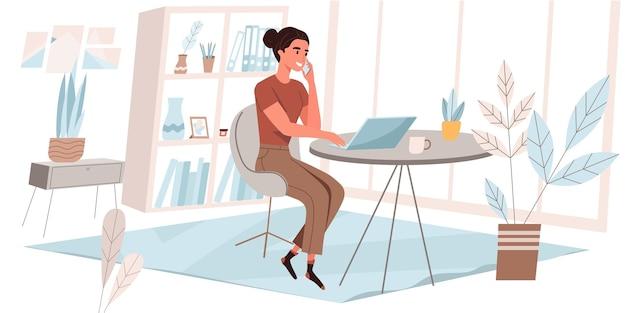 フラットなデザインのフリーランスの作業コンセプト。ノートパソコンで作業している女性、電話をかけている女性、居心地の良い部屋の机に座っている女性、リモートワークをしている女性、オンラインでタスクを実行している女性。フリーランサーの人々のシーン。ベクトルイラスト