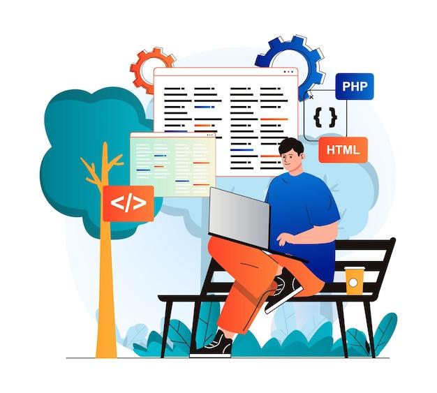 현대적인 평면 디자인의 프리랜서 작업 개념 남자 개발자는 앉아 있는 동안 노트북에서 작동합니다.