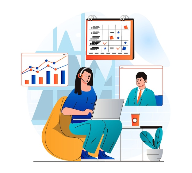 Freelance working concept in modern flat design woman discusses tasks with colleague