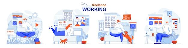 フリーランスの作業コンセプトは、リモートの従業員がタスクを完了し、プロジェクトの作業を行うように設定します Premiumベクター