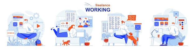 Freelance working concept set remote employees complete tasks do project work