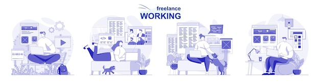 Freelance working isolated set in flat design people dong remote work on laptops from home office
