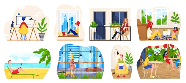Внештатный иллюстрации на рабочем месте, мультфильм фрилансер люди сидят с ноутбуком в офисе дома, в современном кафе или на пляже и работает