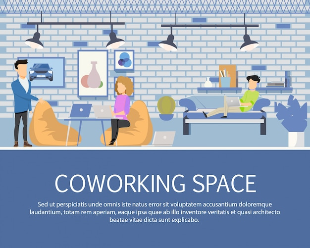 Freelancer activity in coworking space banner