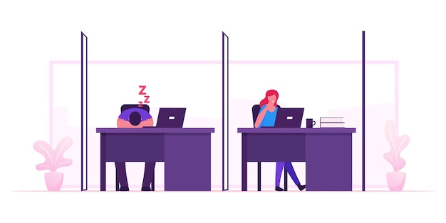 Freelancer activity in coworking space. cartoon flat illustration